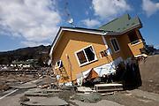 Kirikiri village.Part of a house on the tsunami barrier