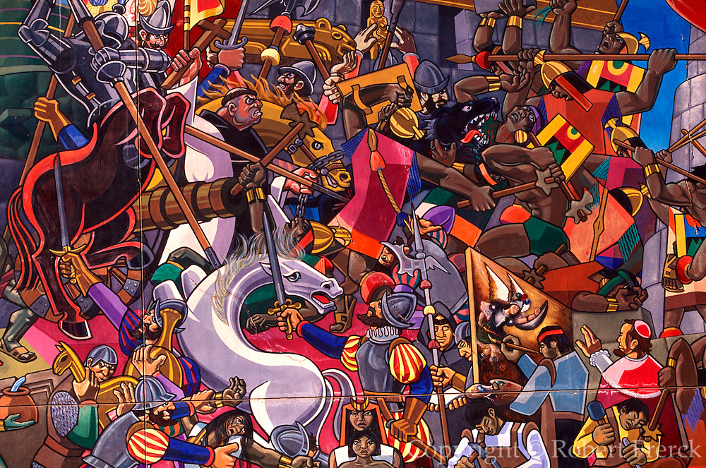PERU, CUZCO Mural by Juan Bravo, c.1995, depicting the history of the Incan Civilization; Invasion of Pizarro and the Spanish Conquistadors