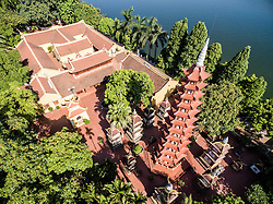 Aerial view of Tran Quoc Pagoda in Hanoi, Vietnam, Southeast Asia