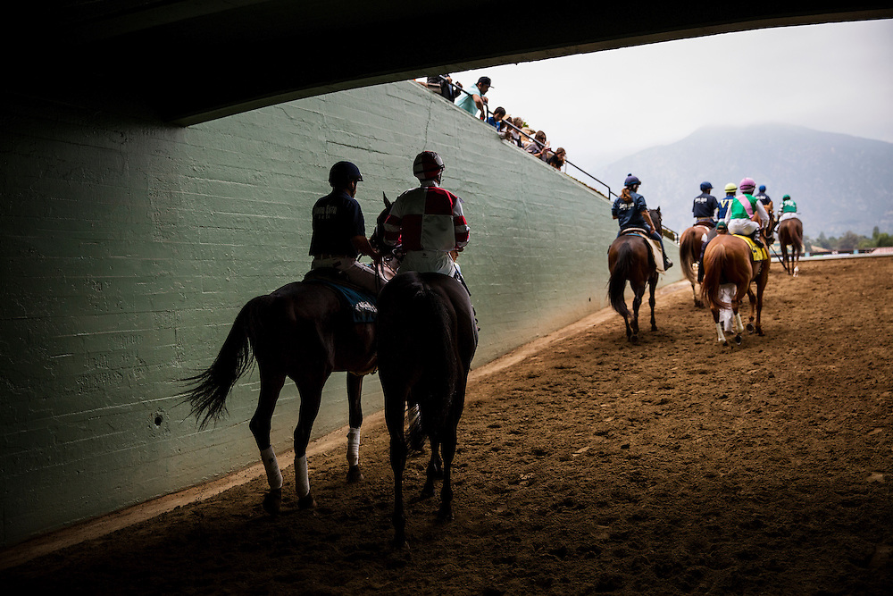 June 13 2015: Bal a Bali with Flavian Prat make their way to the track for the Shoemaker Mile at Santa Anita Park in Arcadia CA. Alex Evers/ESW/CSM
