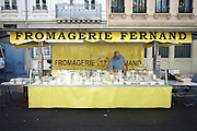 A stall selling cheese (fromage) in the Croix-Rousse area of Lyon