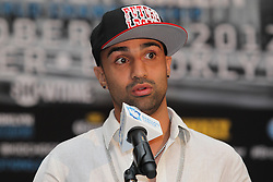 Aug 30, 2012; Brooklyn, NY, USA; WBA Welterweight Champion Paulie Malignaggi speaks at the press conference at New York Marriott at the Brooklyn Bridge. The press conference announced the upcoming October 20th card at the Barclay's Center.