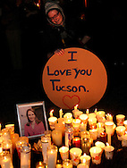 Hundreds attended a vigil for Congresswoman Gabrielle Giffords outside of University Medical Center, Tucson, Arizona, USA, where she recovers after being shot.  Six died and many others were wounded in the attack.
