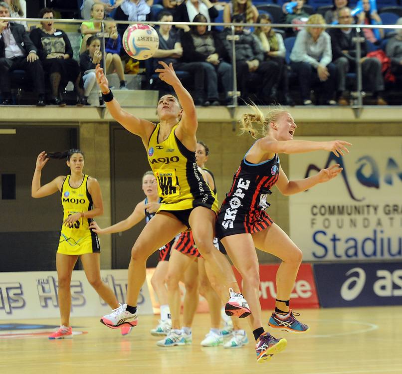 Pulse's Liana Leota, left, clashes with Tactix's Hayley Saunders  in the ANZ Netball Championship, Te Rauparaha Arena, Porirua, New Zealand, Monday, April 19, 2015. Credit:SNPA / Ross Setford