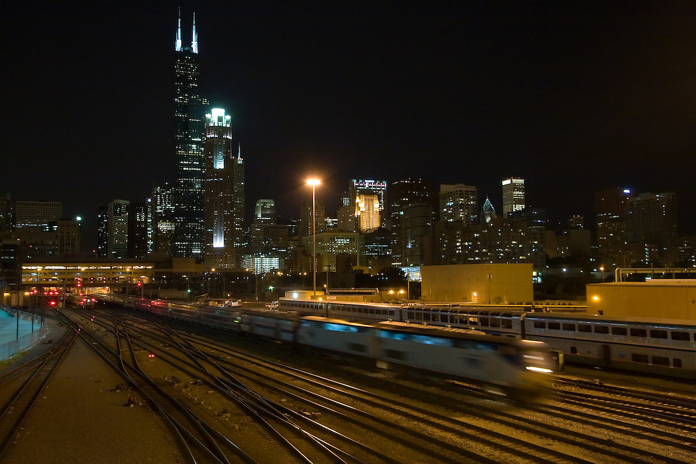Streaking out of Chicago Union Station, Amtrak's Lake Shore Limited passes through the Amtrak yard and under the Sears Tower.