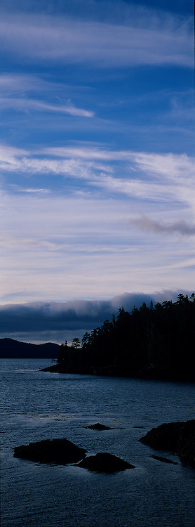 Canada, British Columbia, Late afternoon sun lights Howe Sound and Vancouver Island in late summer