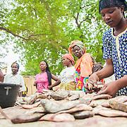 LÉGENDE: La vendeuse de poissons étale ses poissons pour mieux les présenter aux passants. LIEU: Marché de Chagoua, N'Djaména, Tchad. PERSONNE(S): A droite une vendeuse de poissons débout et en arrière plan clientes et vendeuses.