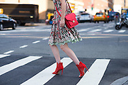 Lace Dress and Red Bag, Outside Noon by Noor SS2017