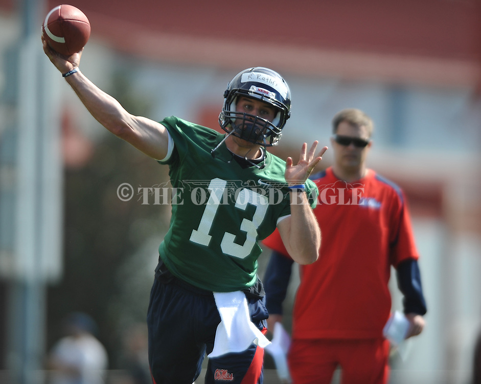 Quarterback Ratliff goes through a drill as Mississippi began spring practice in Oxford, Miss. on Friday, March 23, 2012. (AP Photo/Oxford Eagle, Bruce Newman)