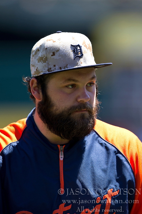OAKLAND, CA - MAY 26:  Joba Chamberlain #44 of the Detroit Tigers looks on during batting practice before the game against the Oakland Athletics at O.co Coliseum on May 26, 2014 in Oakland, California. The Oakland Athletics defeated the Detroit Tigers 10-0.  (Photo by Jason O. Watson/Getty Images) *** Local Caption *** Joba Chamberlain