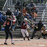 Caravel Academy Infielder Emily Proffitt (4) attempts to make contact with ball during a varsity scheduled game between Caravel Academy and The Delmar Wildcats Saturday, April 4, 2015, at Caravel Athletic Field in Bear Delaware.