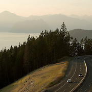 The Sea to Sky Highway snakes around Howe Sound.  Near Vancouver BC, Canada