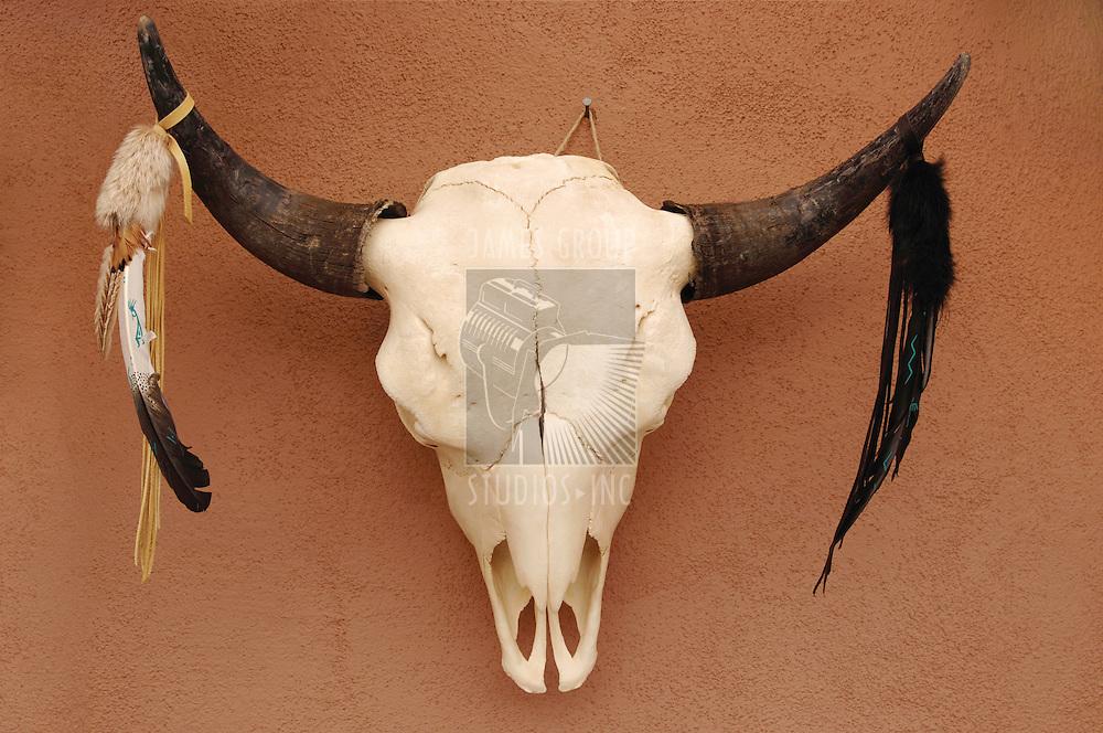 Decorated Pueblo bull skull on adobe wall
