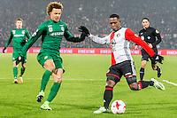 ROTTERDAM - Feyenoord - FC Groningen , Voetbal , Eredivisie , Seizoen 2016/2017 , Feijenoord stadion de Kuip , 11-02-2017 ,  FC Groningen speler Desevio Payne (l) in duel met Feyenoord speler Eljero Elia (r)