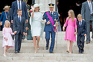 21-7-2015 BRUSSELS, BELGIUM: Prince Emmanuel, Princess Eleonore, Prince Gabriel, Crown Princess Elisabeth, Queen Mathilde of Belgium and King Philippe - Filip of Belgium pictured after the Te Deum mass, on the occasion of today's Belgian National Day, at the Saint Michael and St Gudula Cathedral (Cathedrale des Saints Michel et Gudule / Sint-Michiels- en Sint-Goedele kathedraal) COPYRIGHT ROBIN UTRECHT<br />