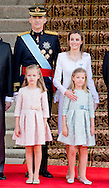 MADRID - King Felipe, Queen Letizia, Princess Leonor and Princess Sofia at the congress for the investiture ceremony of the new Spanish king in Madrid, Spain, 19 June 2014. After the investiture ceremony King Felipe and his family attend military parade.COPYRIGHT ROBIN UTRECHT