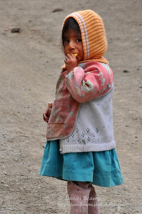 Little girl in Quiabaya, near Sorata, Bolivia