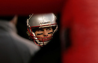 New England Patriots quarterback Tom Brady lines up in the inflatable tunnel with teammates before the start of the game against the Indianapolis Colts at Gillette Stadium in Foxboro, Massachusetts on November 21, 2010.  The Patriots defeated the Colts 31-28.   UPI/Matthew Healey