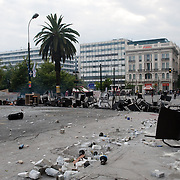 Barricade in Syntagma  (Constitution) square during the protests in Athens against the  unpopular austerity measures, June 29, 2011