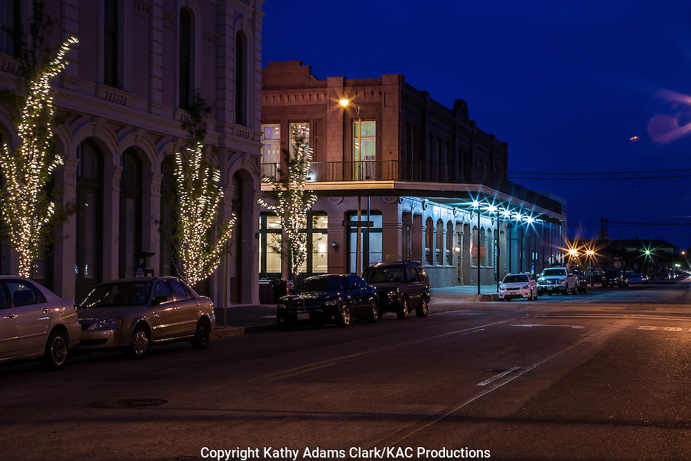 Night photography of street scene in Galveston Strand area,Texas.