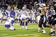 Boise State Broncos kicker Kyle Brotzman #35 reacts after missing a field goal in overtime against the University of Nevada at Mackay Stadium in Reno. The wolfpack won the game, ending Boise State's hopes for an undefeated season.