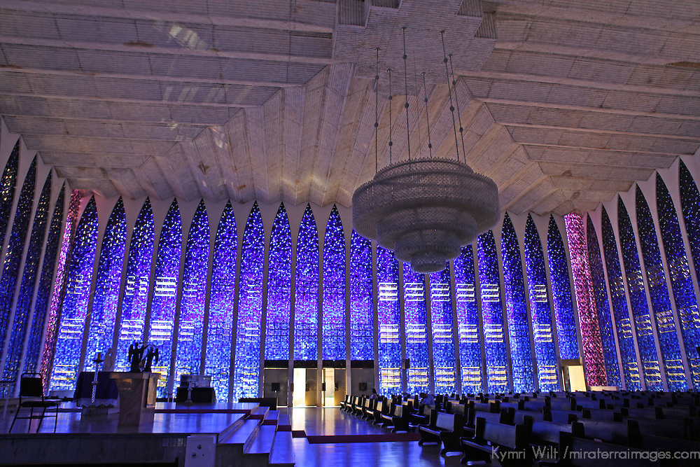 South America, Brazil, Brasilia. Interior of the Dom Bosco Sanctuary in Brasilia.