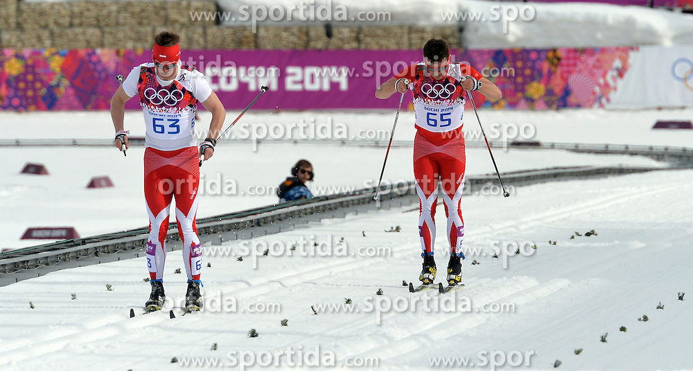 14.02.2014, Laura Cross-country Ski &amp; Biathlon Center, Krasnaya Polyana, RUS, Sochi, 2014, Herren Langlauf 15km, Classic, im Bild MACIEJ STAREGA SEBASTIAN GAZUREK // MACIEJ STAREGA SEBASTIAN GAZUREK during Mens Cross Country 15km Classic Race of the Olympic Winter Games Sochi 2014 at the Laura Cross-country Ski &amp; Biathlon Center in Krasnaya Polyana, Russia on 2014/02/14. EXPA Pictures &copy; 2014, PhotoCredit: EXPA/ Newspix/ TOMASZ JAGODZINSKI<br /> <br /> *****ATTENTION - for AUT, SLO, CRO, SRB, BIH, MAZ, TUR, SUI, SWE only*****