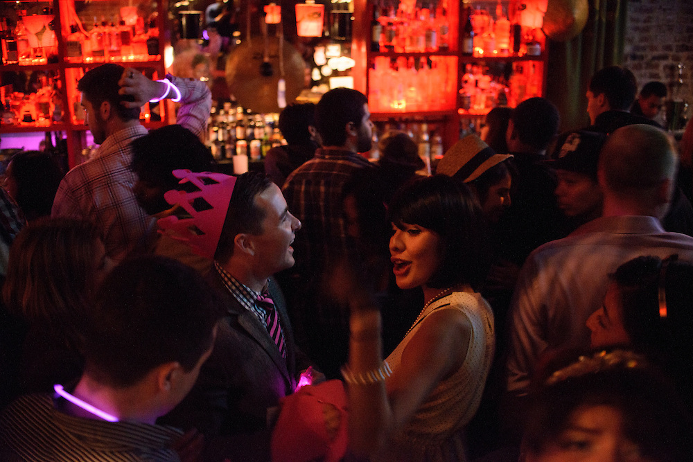 Photo by Matt Roth.Assignment ID: 10137081A..Birthday boy Andrew Wigin dances with Alicia Rios, at Sticky Rice in Washington, D.C. on Sunday, January 13, 2013...H Street, N.E, in Washington D.C. was recently ranked sixth on Forbes magazine's list of the nation's best hipster neighborhoods.