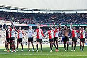 ROTTERDAM  - Feyenoord - PSV , eredivisie , voetbal , Feyenoord stadion de Kuip , seizoen 2014/2015 , 22-03-2015 , Spelers vieren de overwinning met de supporters