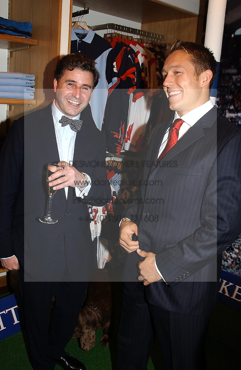 Left to right, JEREMY HACKETT and England rugby player JONNY WILKINSON at a party to celebrate the 21st year of Hackett held at their store in Sloane Street, London on 26th October 2004.<br /><br />NON EXCLUSIVE - WORLD RIGHTS