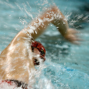 Southern Cayuga swimming captain Luke Cook swims in the 400-meter freestyle relay during a meet against Odessa-Montour.<br /> Poplar Ridge, NY, February 2009.<br /> Sam Tenney / The Citizen