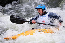 Michael Dee of St. Louis, Missouri races in the K1 men's expert class during the slalom course of the 42nd Annual Missouri Whitewater Championships. Dee placed placed eighth place in the class. The Missouri Whitewater Championships, held on the St. Francis River at the Millstream Gardens Conservation Area, is the oldest regional slalom race in the United States.