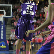 James Madison Guard Tarik Hislop (22) attempts a jump shot in the second half of a regular season NCAA basketball game against Delaware Sunday, Feb 24, 2013 at the Bob Carpenter Center in Newark Delaware.