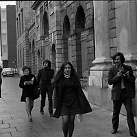 "Bernadette Devlin MP at The Four Courts.1971..17.11.1971..11.17.1971..17th Nov 1971..As a result of comments made on ""The Late Late Show"", an RTE production, Ms Bernadette Devlin MP appeared in court as defendant in a libel case taken against her..Image shows Ms Bernadette Devlin arriving at the Four Courts for the libel case in which she is the defendant."