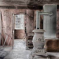 Pot belly stove at the Hancock Shaker Village in Massachusetts.