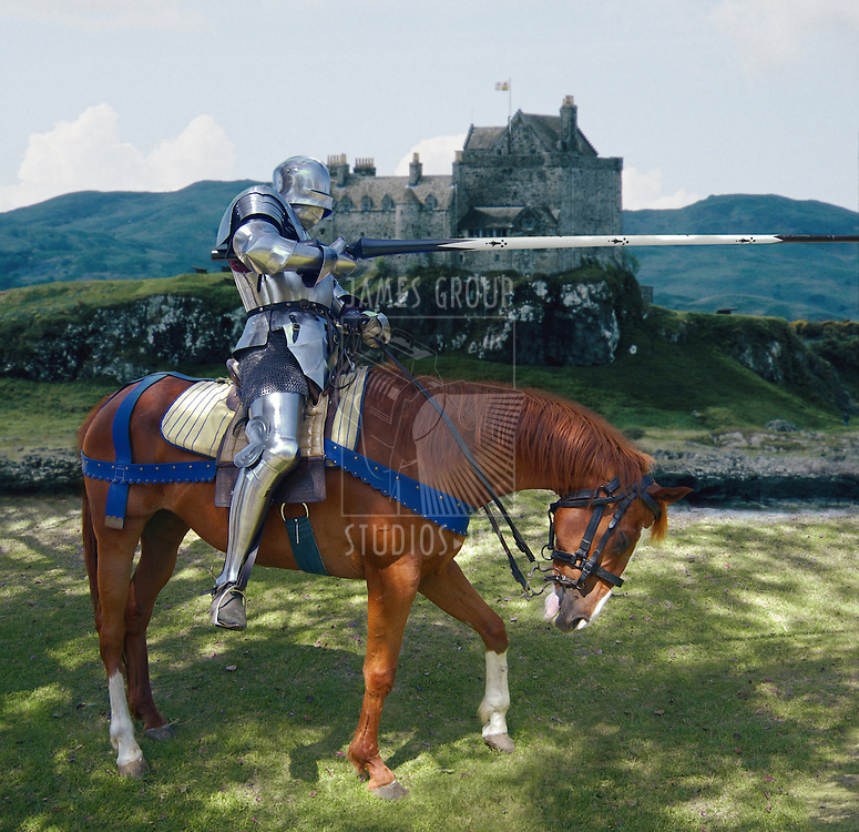 Knight in shining armour on his horse holding a lance