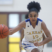 Caesar Rodney Kylie Kornegay (15) dribbles the ball up the floor during a Diamond State Classic game Wed. Dec. 28, 2016 at Saint Elizabeth's High School in Wilmington.