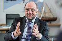 27 FEB 2017, BERLIN/GERMANY:<br /> Martin Schulz, SPD, desig. Parteivorsitzender und Kanzlerkandidat, waehrend einem Interview, in seinem Beuro, Willy-Brandt-Haus<br /> IMAGE: 20170227-01-015