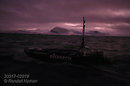 Motorized, pre-programmed autonomous kayak laden with high-tech equipment cuts through waters of Kongsfjorden measuring imperceptible light changes of high noon against vertical movement of zooplankton during polar night in January; Svalbard, Norway.