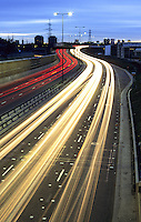 Trail lights on the A12, Leytonstone, East London, England