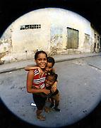 2000 August- Havana, Cuba- ' Las Chicas ' posed for image in Old Havana, Cuba