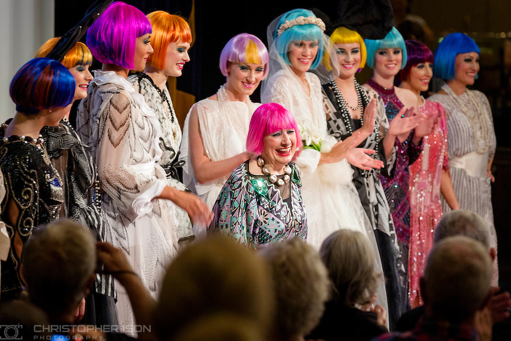 Models pictured with Dame Zandra Rhodes following her catwalk show Transatlantic Dreams on board Cunard's Queen Mary 2 mid-Atlantic. The show is one of the unique events being held during Cunard's first Transatlantic Fashion Week. The voyage set sail from Southampton on the 1st September and will arrive in to New York City for the start of New York Fashion Week on the 8th.<br /> Picture date: Tuesday September 6, 2016.<br /> Photograph by Christopher Ison &copy;<br /> 07544044177<br /> chris@christopherison.com<br /> www.christopherison.com