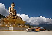 BU00012-00...BHUTAN - Buddha statue under construction above Thimphu. This Buddha Dordenma will be the world's largest at 192.6 feet tall.