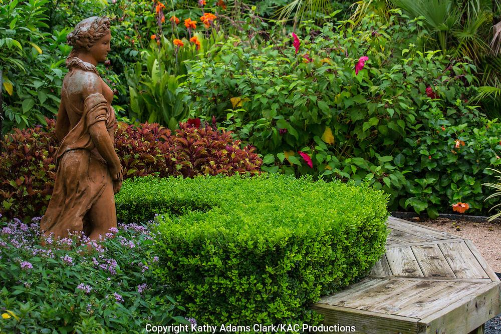 Statue of a lady, boxwood, formal garden, bench, hibiscus, calla lily, Garden, Houston, late summer, Texas.