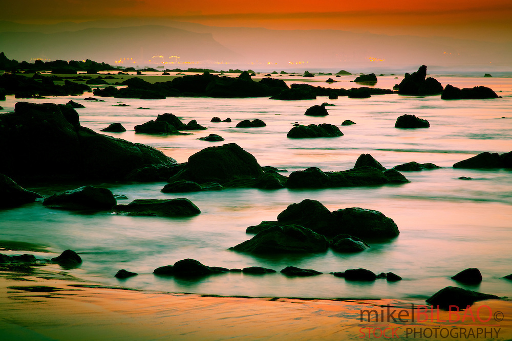 Coastline at sunset.<br />