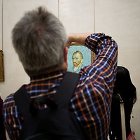 People stand by Vincent van Gogh's painting 'Self-Portrait' at The Musée d'Orsay in Paris, Friday, Sept. 26, 2008. (ivan gonzalez)