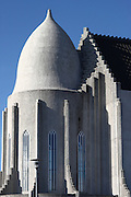 The back end of the Hallsgrímskirkja church in Reykjavik, with the design based on the country's basalt columns. Designed by Guðjón Samúelsson, and built in 1937. At the time I visited the front was under scaffolding, as it was undergoing major structural repair in 2008-9.