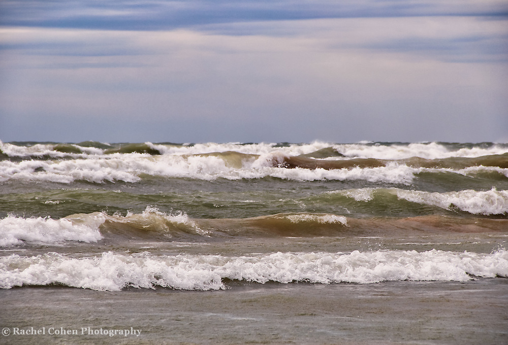 &quot;Rolling Chaos&quot;<br /> <br /> Huge rolling waves and strong winds bring chaos to what would usually be a quiet day on Lake Michigan!!<br /> <br /> The Great Lakes by Rachel Cohen