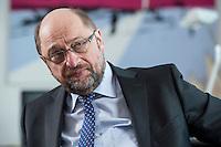 27 FEB 2017, BERLIN/GERMANY:<br /> Martin Schulz, SPD, desig. Parteivorsitzender und Kanzlerkandidat, waehrend einem Interview, in seinem Beuro, Willy-Brandt-Haus<br /> IMAGE: 20170227-01-005