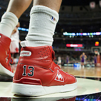 21 December 2009: Close view of Chicago Bulls center Joakim Noah shoes, brand name Le Coq sportif, during the Sacramento Kings 102-98 victory over the Chicago Bulls at the United Center, in Chicago, Illinois, USA.